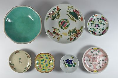Lot Of 7 Old China Chinese Famille Rose Porcelain Dishes