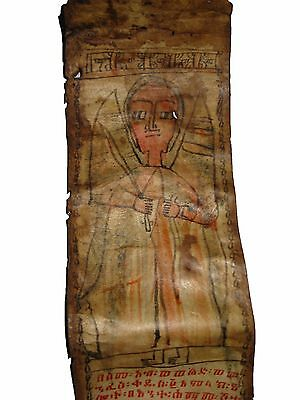 Old Ethiopian Ge'ez Magic Prayer Scroll : Ethiopia Manuscript African Art