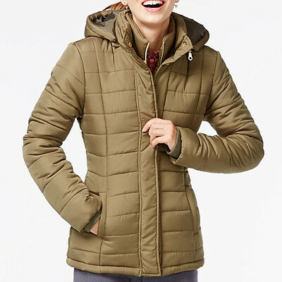 RAMPAGE $69 NEW Olive Green 1433 Hooded Quilted Womens Jacket Coat M