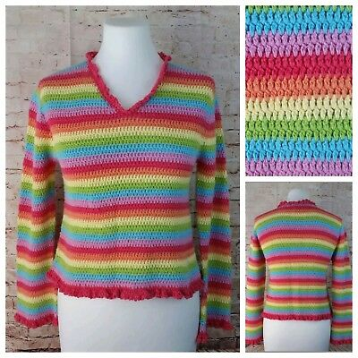 Limited Too Large Rainbow Knit Sweater Pink Ruffle Trim Cotton / Ramie Blend EUC