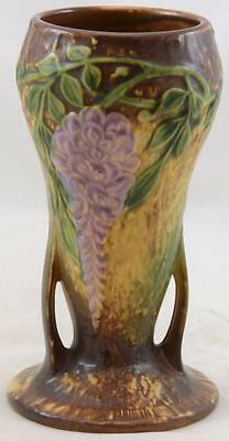 "ROSEVILLE 8"" WISTERIA BROWN VASE EXCELLENT COLOR and MOLD SHAPE #635-8"" MINT"