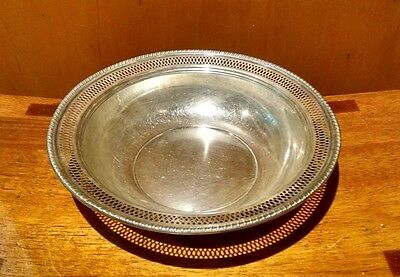 Antique Sterling Silver Bowl 211.6 g. Pierced Edge Pattern 3 Hallmarks