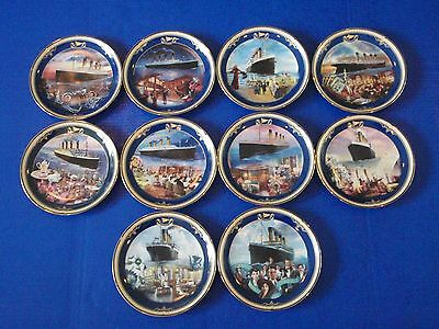 TITANIC: QUEEN OF THE OCEAN Plates - Bradford Exchange - Set of 10 - EUC