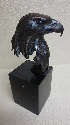 MIKE CURTIS 1983 Solid Bronze Eagle Signed Bust & Marble Pillar 59/250 ~ NICE!