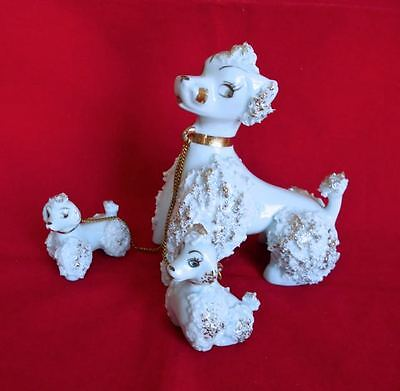 Vintage Blue Poodle Family Mom & 2 Puppy Dogs Figurine Chains