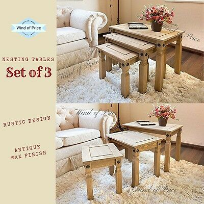 Set of 3 Nest Solid Coffee Tables Antique Rustic Design Wood Pine Lamp Table