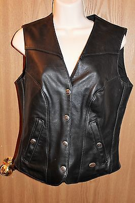 "Harley Davidson ""Basic Skins"" Lined Womens Leather Vest Size Small Pre-owned"