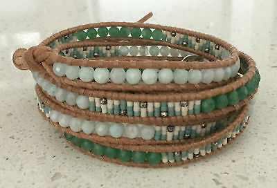 NWT Chan Luu Seed and Semiprecious Bead Mix Natural Leather 5 Wrap Bracelet