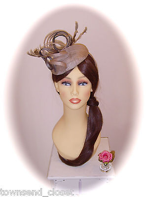 SALE Mother of Bride Ascot Occasion Wedding Ispirato Fascinator, Taupe