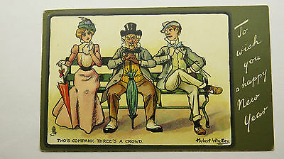 1910s Vintage New Year Greetings Tuck Whatley Postcard Edwardian Lovers Romance
