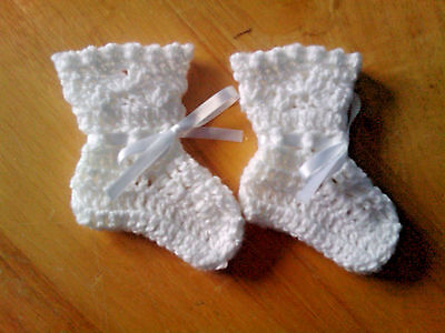 Handmade Crocheted Unisex Baby Bootees with shell picot  Acrylic various cols.