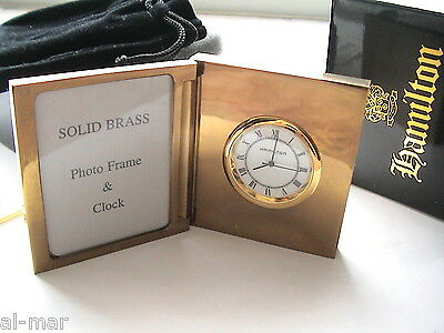 NEW! HAMILTON WATCH CO, SMALL BRASS PHOTO FRAME DESK CLOCK, BOXED w/VELVET POUCH