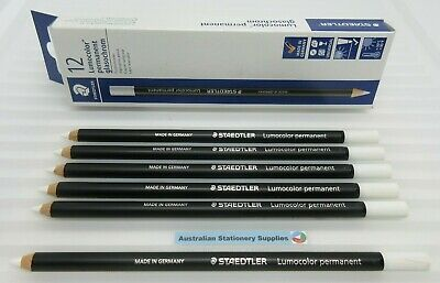 6 x WHITE Staedtler Glasochrom Chinagraph Lumo Pencil free post