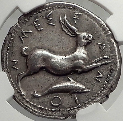 MESSANA in SICILY 425BC Ancient Silver Greek TETRADRACHM Coin RABBIT NGC Ch XF*
