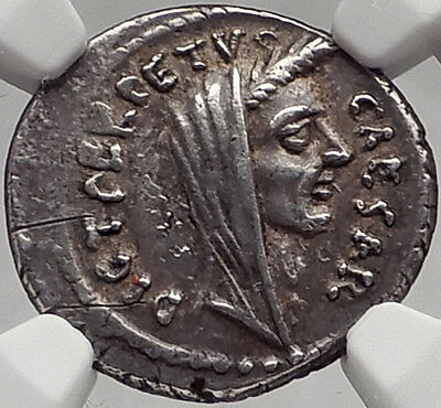 JULIUS CAESAR Lifetime Rome Ancient Silver Roman Coin NGC Certified AU PEDIGREED