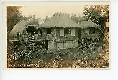 Thatched-Roof House in Antipolo PHILIPPINES Antique Photo Hut Village 1910s