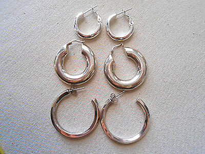 Three Pairs of  Sterling Silver Hoop Earrings   290029