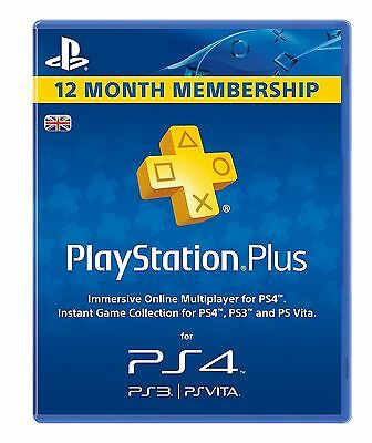 PS4 PlayStation Plus 12 Month Membership - PSN 12 Month Code PS Store 365 Days