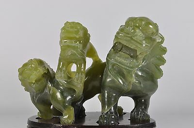 Fine Vintage China Chinese Carved Green Jade Foo Dog Fu Lion Sculpture Art
