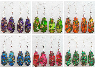 One Pair Sea Sediment Jasper & Pyrite Teardrop Dangle Earrings Choose Color