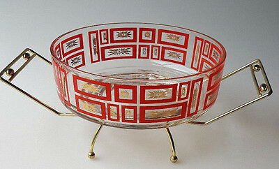 Vintage 1960s mod salad serving bowl Jeannette Glass red gold geometric in stand