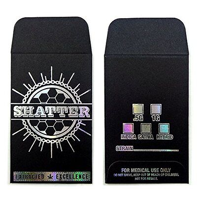 Original Black Silver Shatter Wax Extract Coin Holographic Foil Envelopes #008