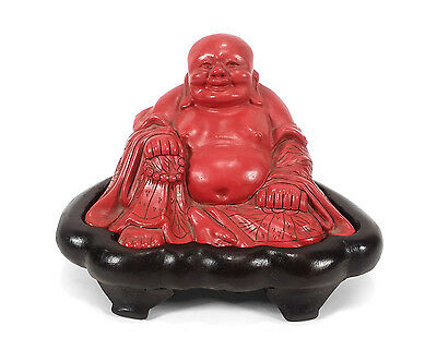 Vintage Chinese Carved Red Cinnabar Lacquer Buddha Statue Fitted Hardwood Stand