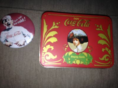 Vintage Coke Tin And Coke Mirror
