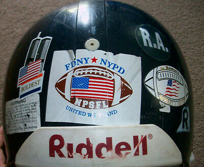 NYCD Boldest Game Used Worn Football Helmet NYPD FDNY NYC Dept Correction NPSFL