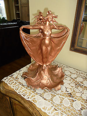 Antique Figural Cast Metal Art Nouveau Double Sided Lady Planter Jardinaire