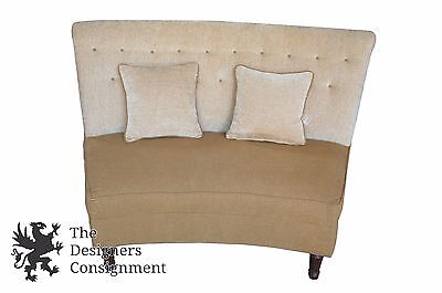 Contemporary Upholstered Curved Loveseat Settee Armless Beige w/ Throw Pillows