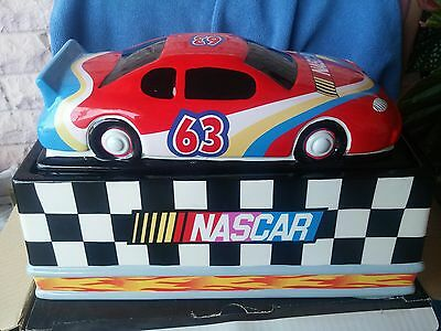 "Authentic Nascar ""victory Gibson Vintage Ceramic Cookie Jar New Open Box"