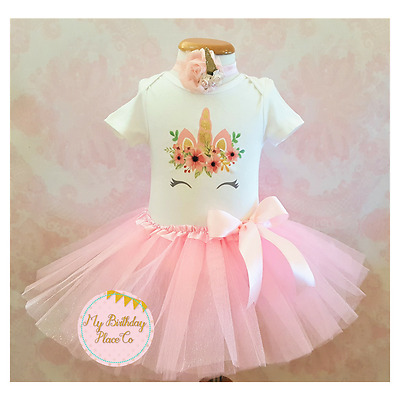 Unicorn birthday outfit,Unicorn tutu outfit,Pink tutu set,pink and gold,Handmade