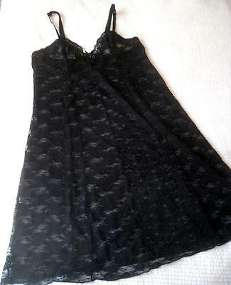 Vintage Pretty Looks Stretch Black Nylon Lace Full Slip Or Nightie Size 12