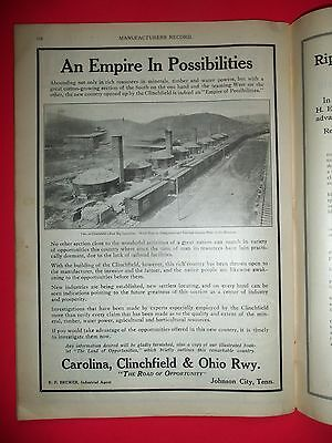 1914 MR Lg Mgzn Ad Carolina Clinchfield & Ohio Railway Johnson City Tennessee