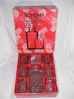 Vintage GENUINE BOHEMIA CRYSTAL 7pcs Whisky Set Decanter & 6 Glasses in Box NEW