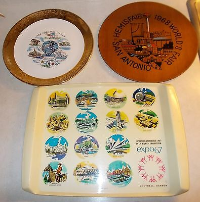 Lot of 3 vintage Worlds Fair Collectibles, 1961, 1967, 1968 Tray and Plates