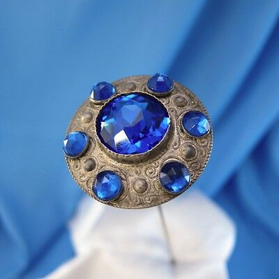 Antique Silver Bright Blue 6 Small Stones w/ Large Center Hatpin Hat Pin