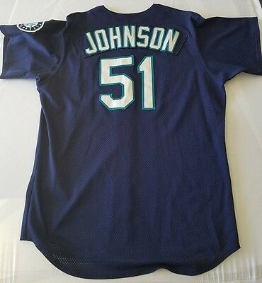 Randy Johnson game worn Seattle Mariners 1998 alternate jersey; Miedema auth.