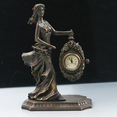 Chinese Collectible Bronze Beauty Statue Mechanical Clock