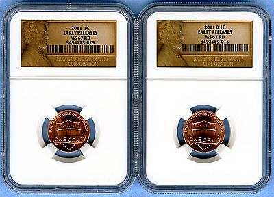 2011 Lincoln Shield Cent Set NGC MS67RD (Early Release) 1C Lot of 2