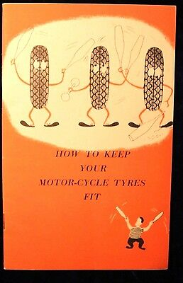 """1966 Dunlop Tire Tyre brochure pamphlet """"How To Keep Your Motor-Cycle Tyres Fit"""""""
