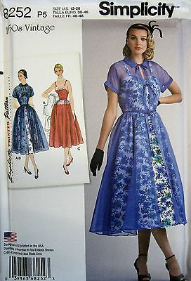 Simplicity Sewing Pattern 8252 Ladies 12-20 Vintage Retro 50's Dress Overdress
