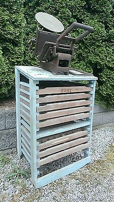 Vtg Antique KELSEY & CO 6x10 THE EXCELSIOR Printing Press With Cabinet and Type
