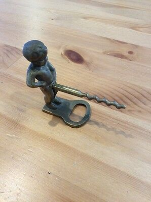 Vintage Brass Peeing Boy Corkscrew; Wine Bottle Opener; Collectable; Kitsch