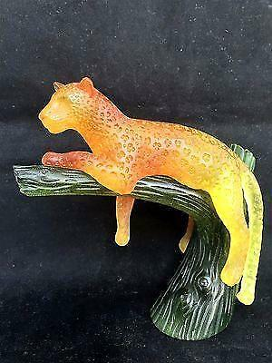 Daum Panther on a tree figurine pate de verre art glass France -OUTSTANDING