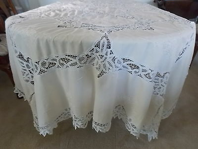 "Vintage Pale Peach & White Cotton Battenburg Oblong Tablecloth 110""l X 62""w"