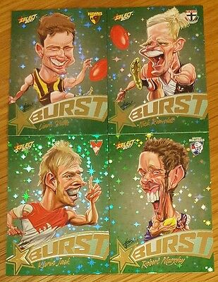 2017 AFL Select Footy Stars Green Starburst Lot of 4 cards