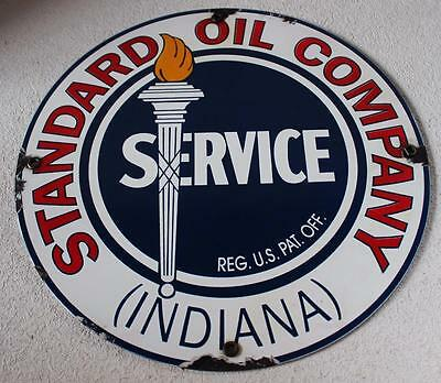 Standard Oil Company Porcelain Advertising  Sign Gas Oil Pump Plate
