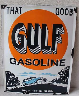 Porcelain Advertising That Good Gulf Gasoline Sign Gulf Refining Co Gas Station